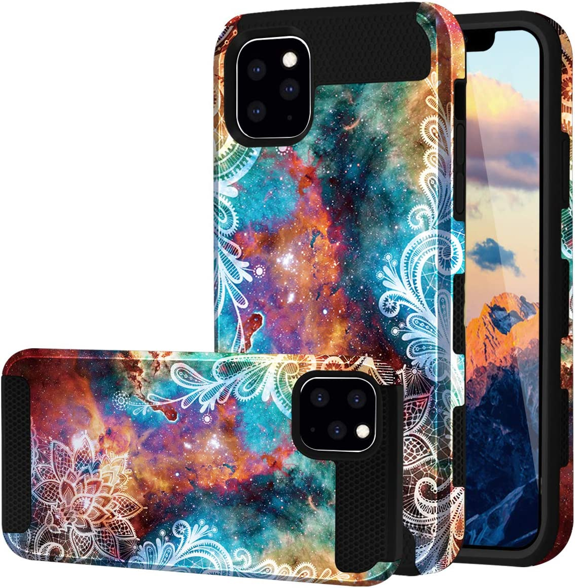 Fingic iPhone 11 Pro Max Case, Floral Design Dual Layer Hybrid Hard PC Soft Rubber Bumper Anti-Scratch Shockproof Protective Case Cover for Apple iPhone 11 Pro Max 6.5 inch 2019, Mandala