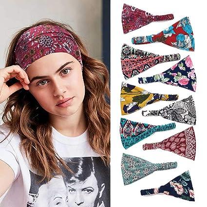 Sethain Drucken Boho Stirnband Breites Headwrap Yoga Dehnbar Knoten Haarband 10er Pack F/ür Frauen und M/ädchen