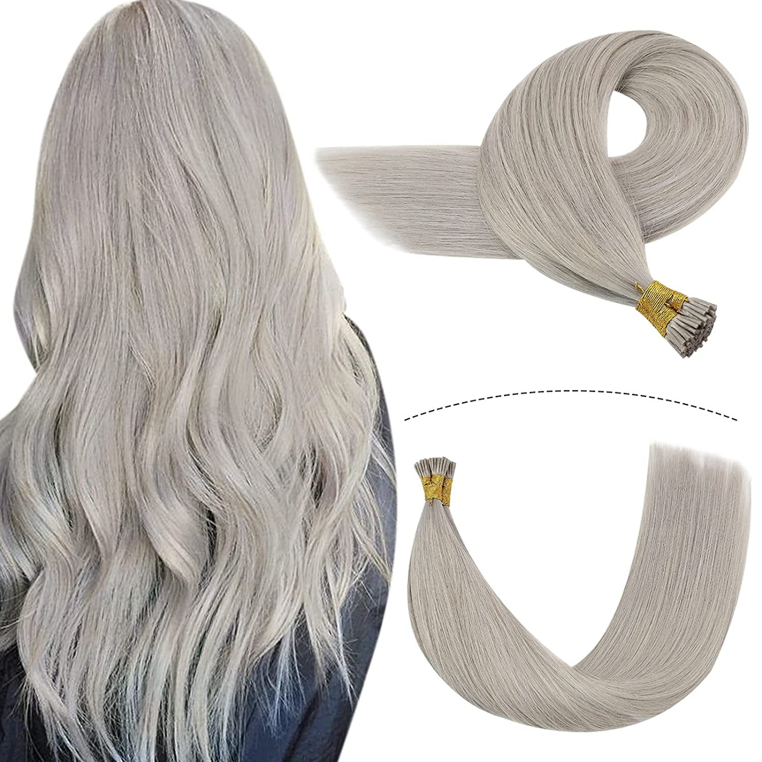 YoungSee Itip Human Extensions Silver Hair Manufacturer direct delivery At the price of surprise