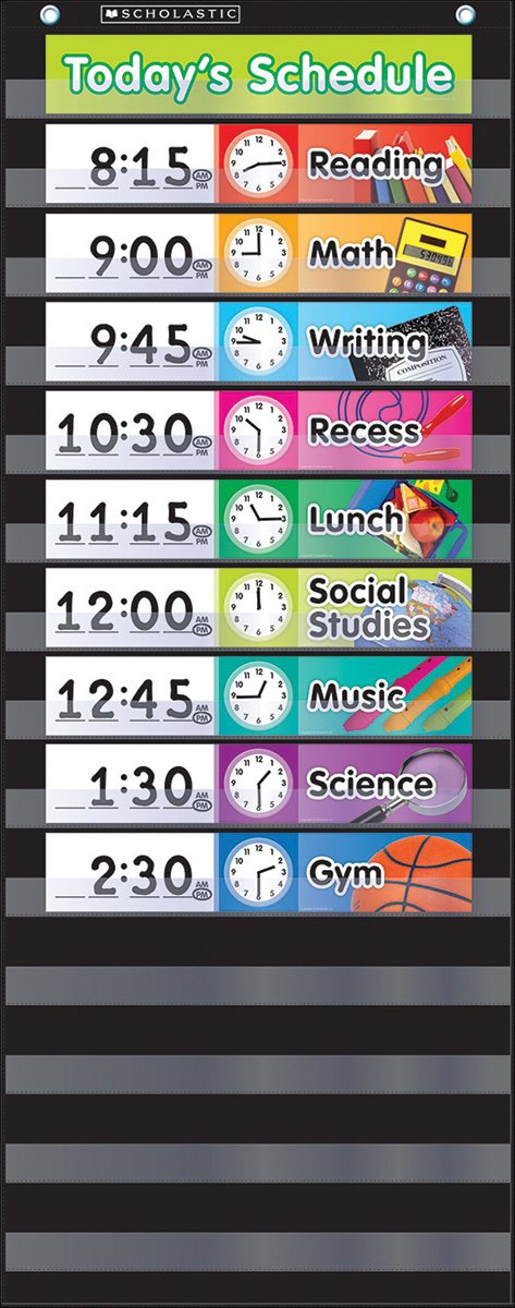 Scholastic Classroom Resources Pocket Chart Daily Schedule, Black (SC583865) by Scholastic (Image #1)