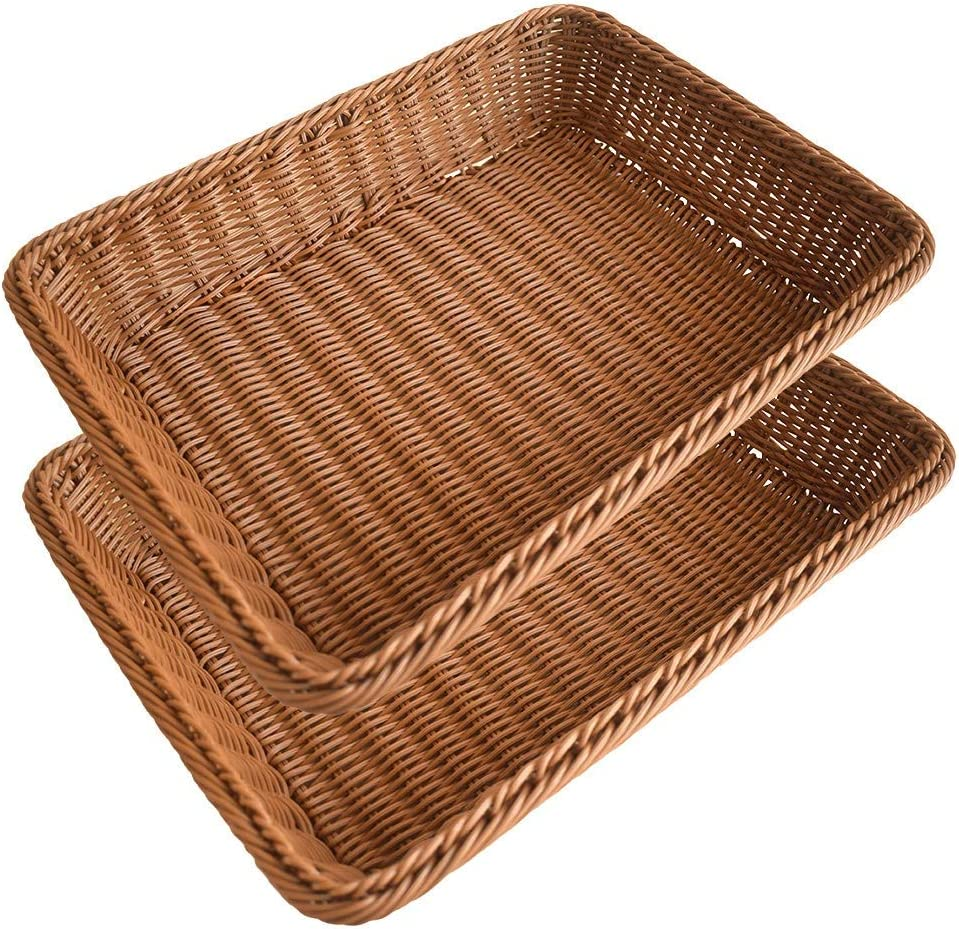 2 Pcs Wicker Baskets for Organizing, 15.7