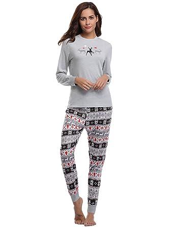 Aibrou Damen Schlafanzug Pyjama Set Lang Nachthemd Nachtwäsche Hausanzug  mit Davidshirsch Grau XXL