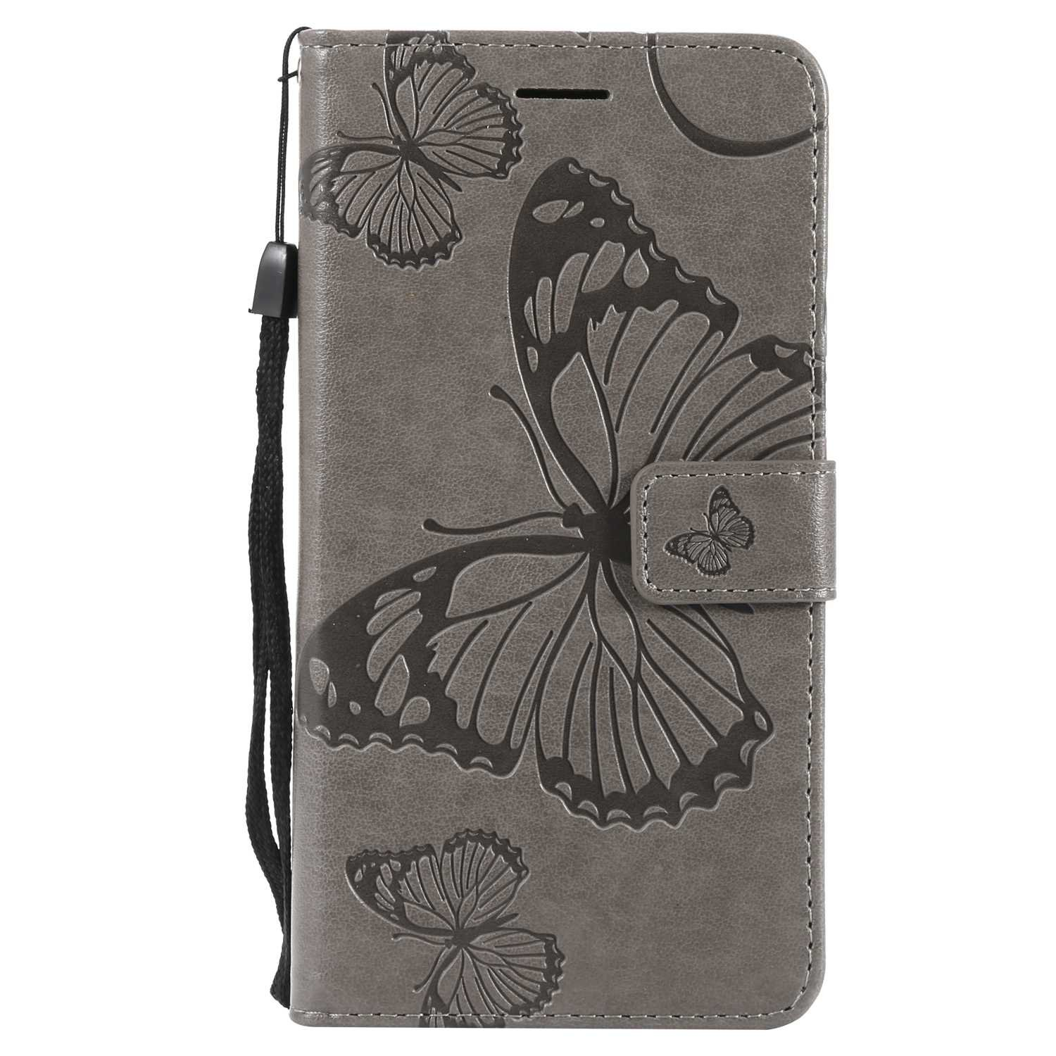 CUSKING Case for Samsung Galaxy J7 2016, Leather Flip Cover Magnetic Wallet Case with Butterfly Embossed Design, Case with Card Holders and Kickstand - Grey