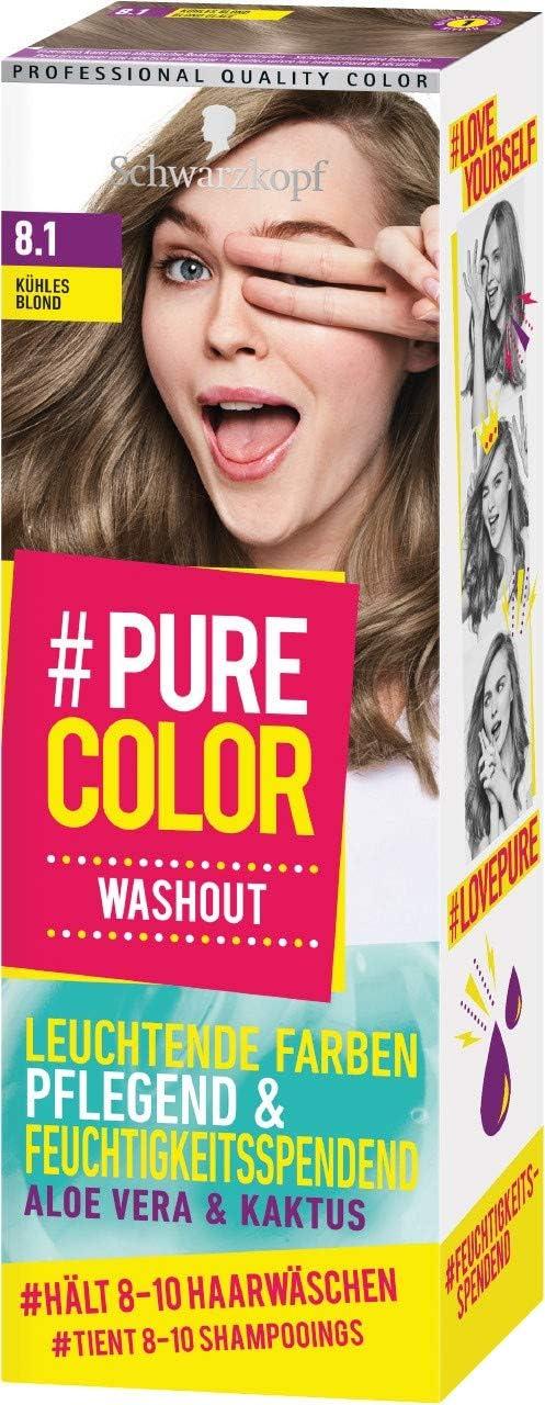 Schwarzkopf #Pure Color Washout 8.1 - Tinte para el cabello rubio frío, 1 unidad (60 ml)