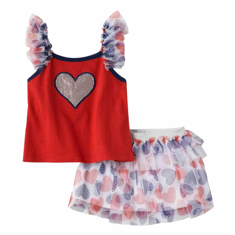 5f0b8bc7b4 Amazon.com: Little Lass Infant Girls Red White Blue Heart Shirt Skirt Set  Outfit: Clothing