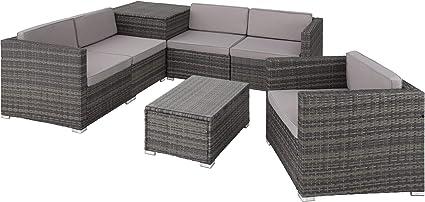 tectake 800677 salon de jardin 5 personnes en resine tressee modulable 5 fauteuils de jardin coffre de rangement et table en verre inclus