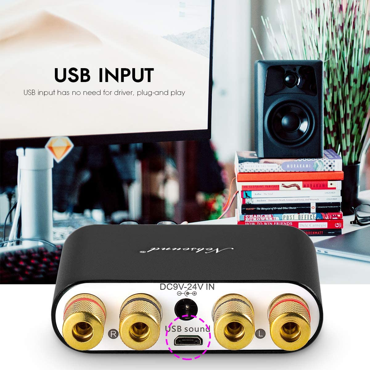 Black NS-10G Bluetooth 5.0 2 Channel Power Amplifier HiFi Stereo Audio Mini Amp Wireless Receiver 50Wx2 for Home Speaker with USB /& Bass Sound Effect
