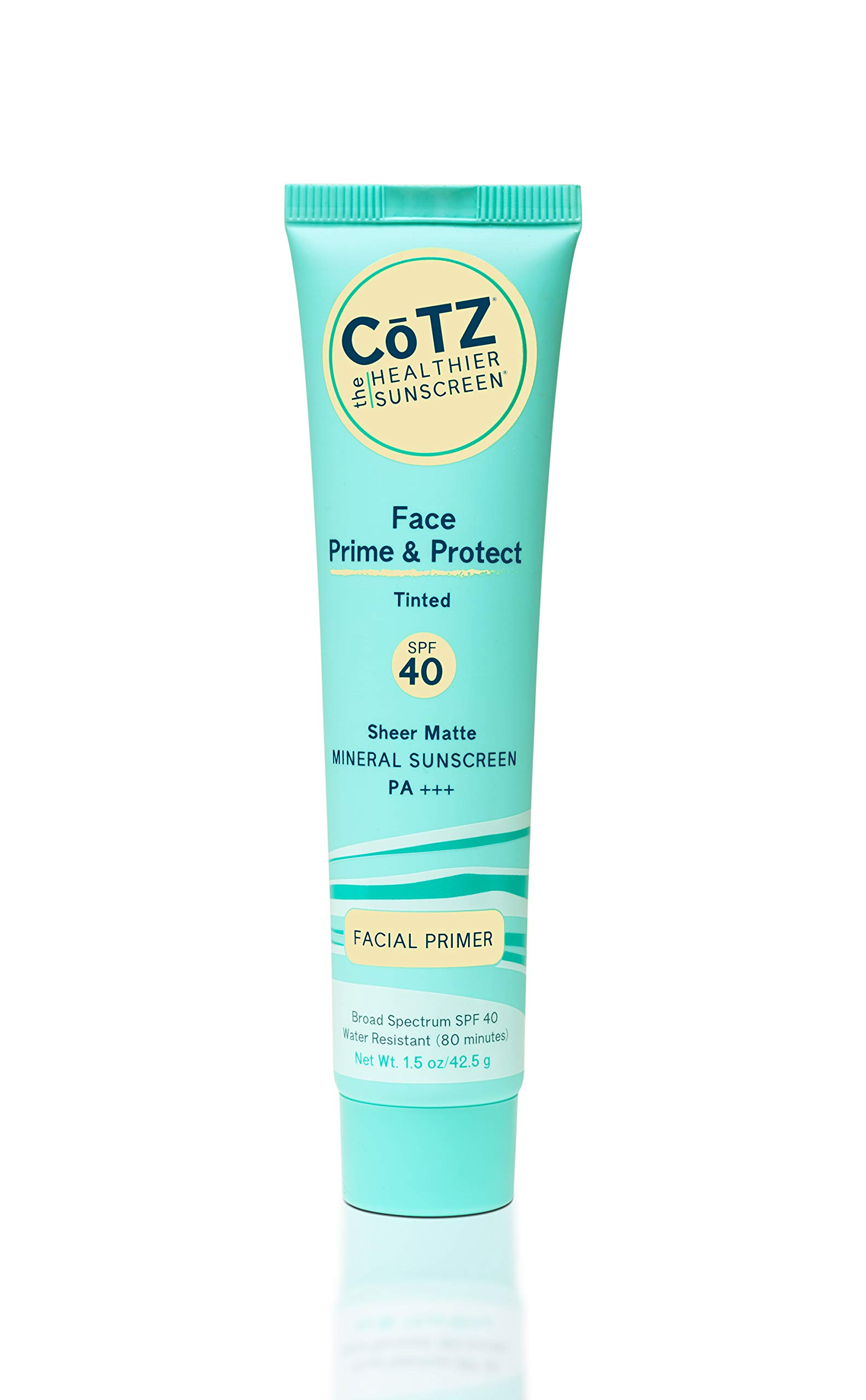 COTZ Face Prime & Protect Tinted Mineral Sunscreen and Facial Primer Broad Spectrum SPF 40; PA+++ 1.5 oz / 42.5 g.