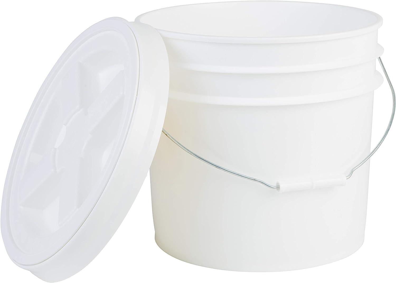 Hudson Exchange Premium 3.5 Gallon Bucket with Gamma Seal Lid, HDPE, White