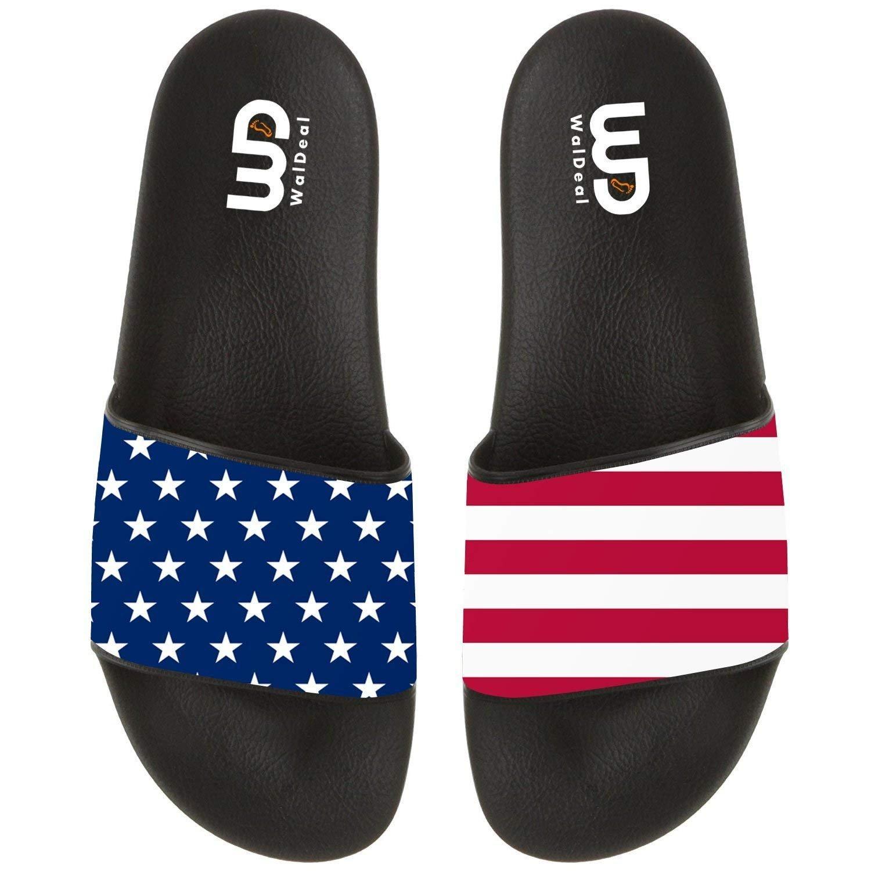 USA Star And Stripe Flag Red Line Summer Slide Slippers For Men Women Indoor Outdoor Beach Sandal Shoes