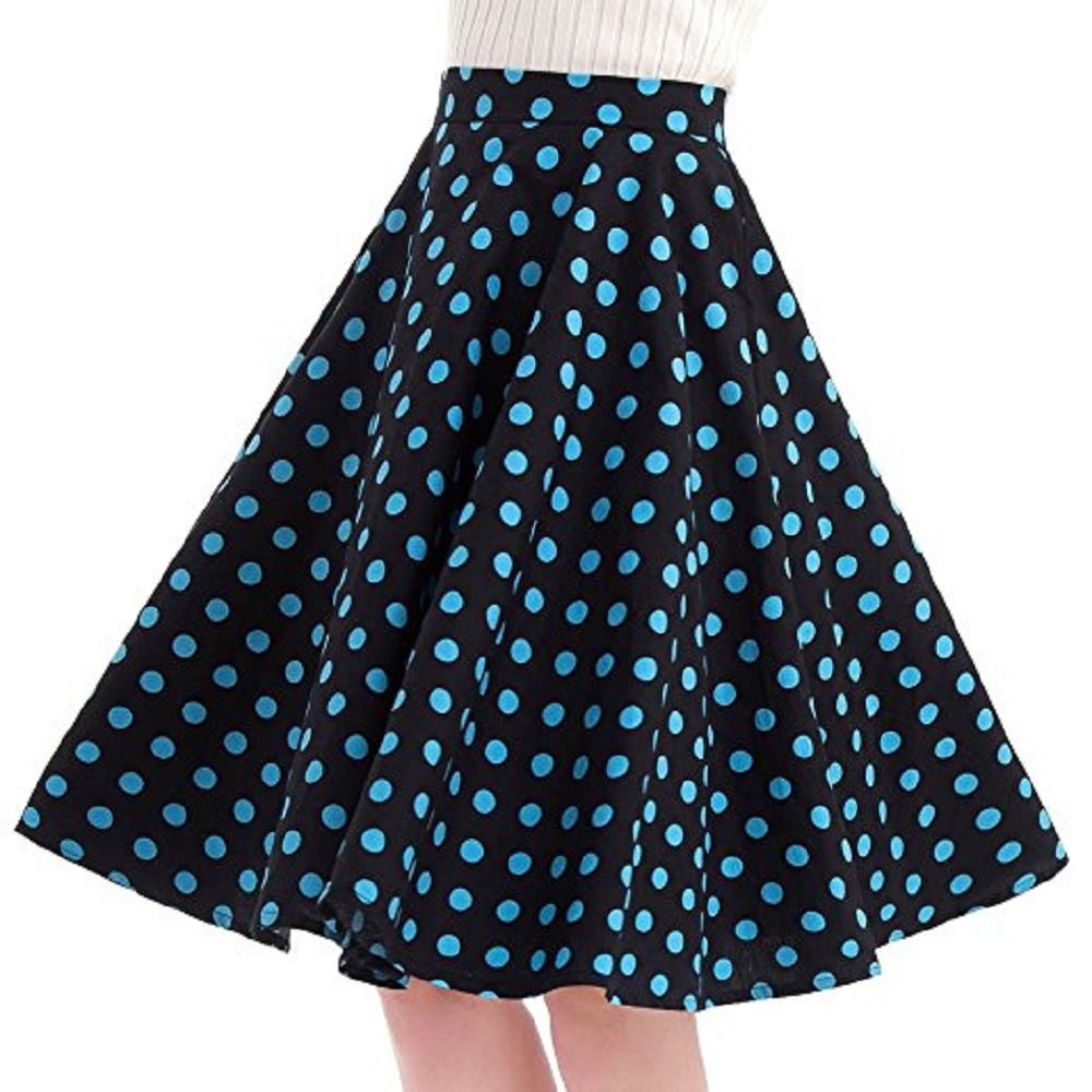 ba0bf1338f Women's 50s Vintage Inspiration Polka Dot Floral Rockabilly Full Swing Skirt  at Amazon Women's Clothing store: