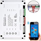 Sonoff 4CH 4-Kanal Smart Switch Wifi Din-schienenmontage Wireless-schalter, Smart-schalter Steckdose Home App Remote Controller (Funktioniert mit Amazon Alexa [Echo, Echo Dot]