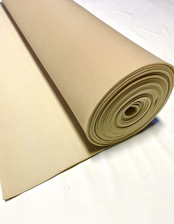 "Lt Tan 120"" Long X 60"" Wide Headliner 3/16 Foam Backed Fabric Material"
