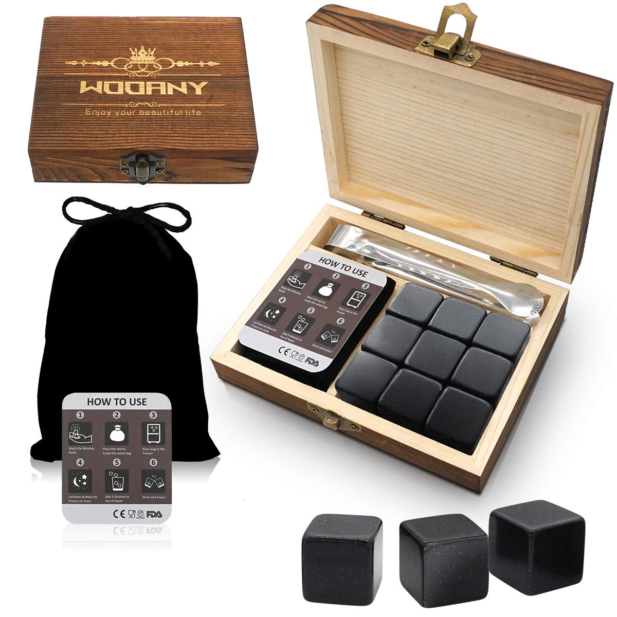 TOPLF Whiskey Stones Premium Set, 9 Granite Whiskey Chilling Stones(Chilling Rocks) - Gift Ideal for Bourbon Scotch Jameson Whiskey Lover With Velvet Pouch and Tong(100% Pure Soapstones)