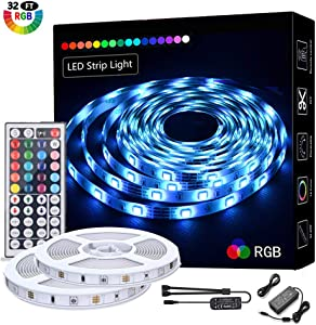 LED Strip Lights 32.8ft/10M,RGB 5050 LEDs Color Changing Full Kit, LED Rope Lights Flexible Tape Light Kit with 44 Keys RF Remote Controller and Power Supply, Mood Lighting Led Strips for Home Kitch