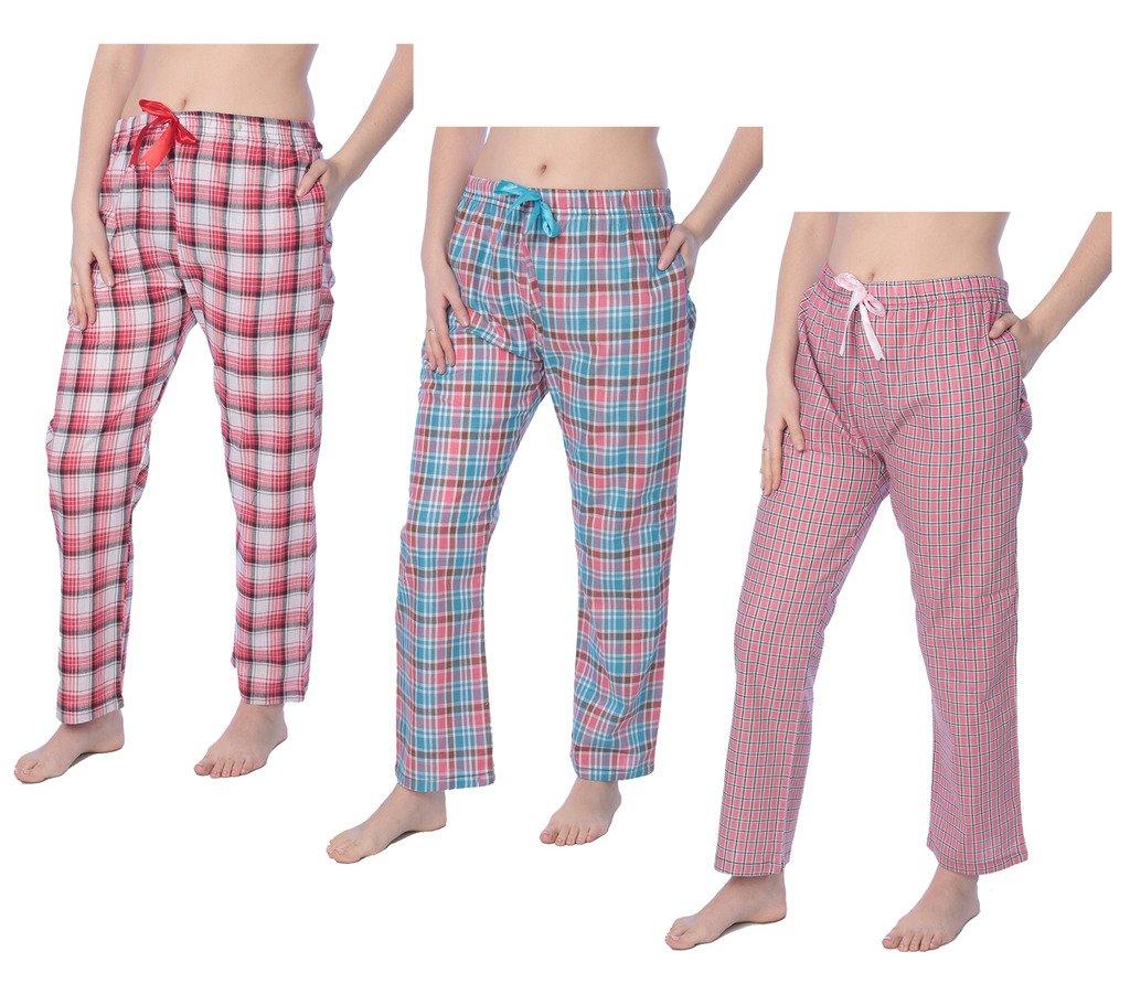 Beverly Rock Women's 100% Cotton Plaid Long Lounge PantsPajama Pants Available in Plus Size Y18_Long_JLP White 1X