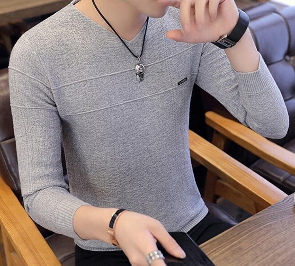 YYG Mens Slim Fit Warm Knitting Pure Color Long Sleeve V-Neck Pullover Sweaters