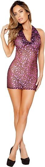 Roma Womens Plus Size 1pc Sheer Black Cowl Neck Mini Dress