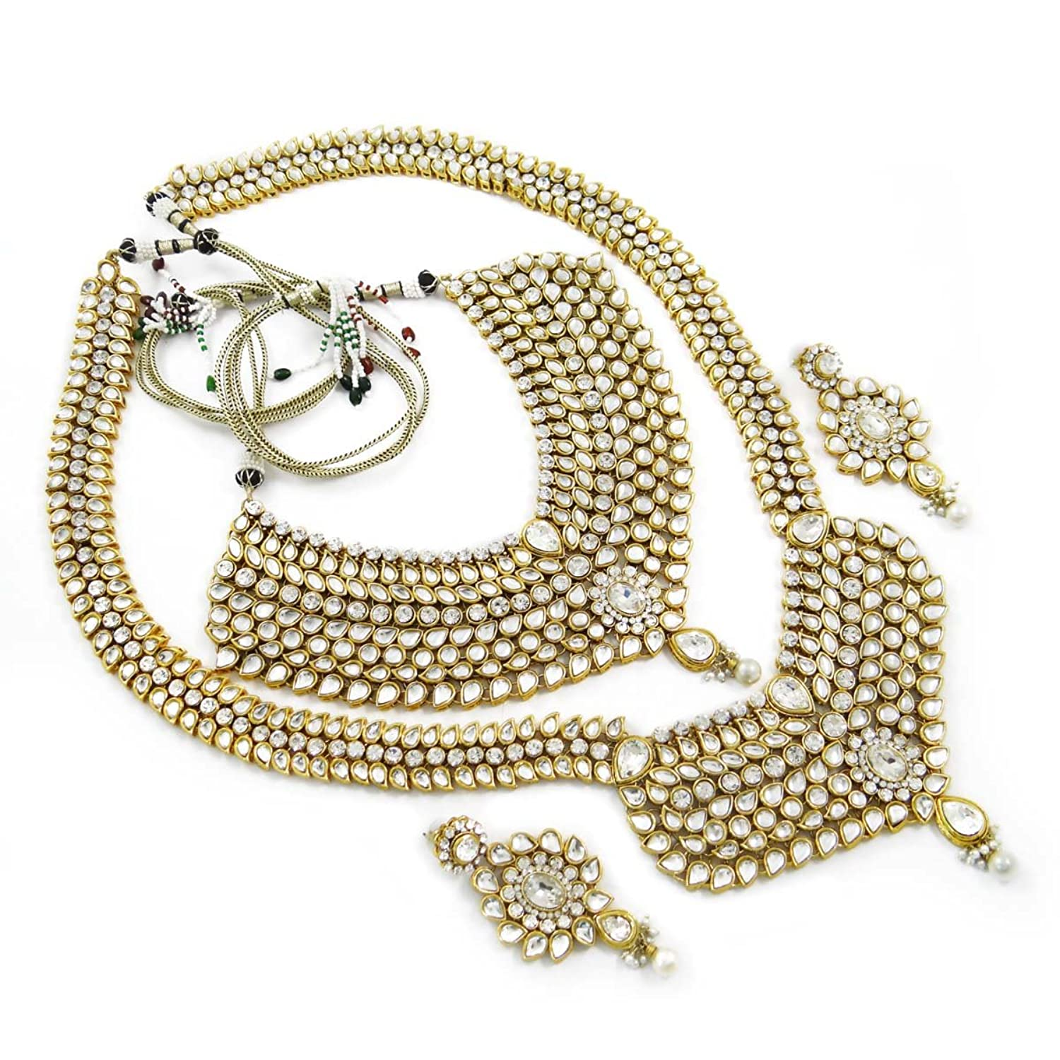 Buy 8 Pc Silver Wedding Gold Plated Kundan Jewellery Traditional Indian Bridal Set Dulhan Online At Low Prices In India