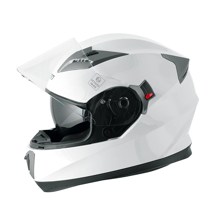 A-Pro Casco Integrale Moto Scooter Visierino Parasole Touring Giallo Fluo S