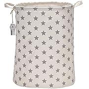 Sea Team 19.7 Inches Large Sized Waterproof Coating Ramie Cotton Fabric Folding Laundry Hamper Bucket Cylindric Burlap Canvas Storage Basket with Stylish Stars Design (19.7 , Grey Star)