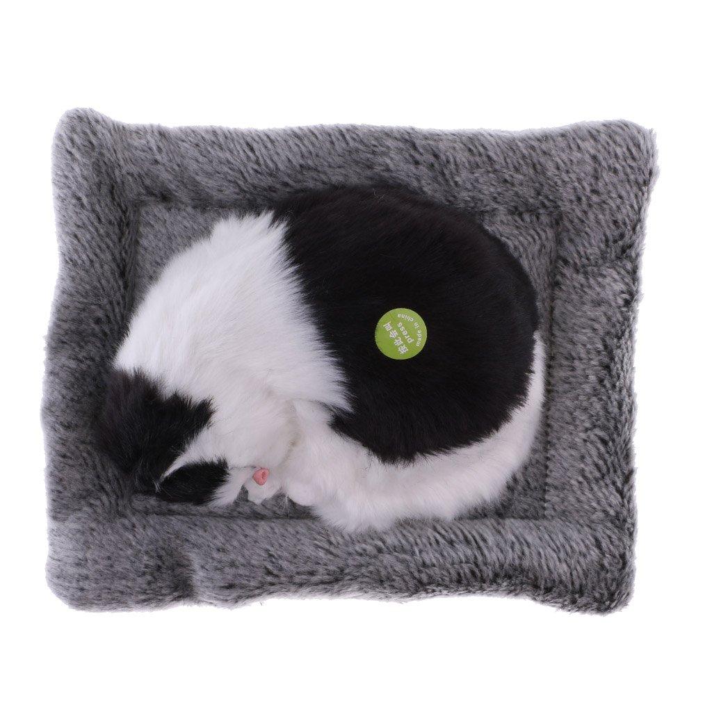Injoyo Lovely Sleeping Kitten Cat Stuffed Plush Pet with Sounds Black White