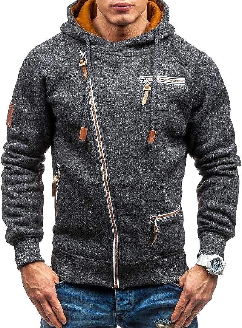 Zimaes-Men Western Loose-Fit Zipper Pocket Warm Velvet Jersey Jacket