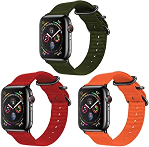 TopPerfekt Nylon Band Compatible with Apple Watch 44mm 42mm, Lightweight Breathable Woven Nylon Sport Wrist Strap, Suitable for iWatch Series 6 5 4 3 2 1 SE (3-Army Green/Red/Orange, 42mm/44mm)