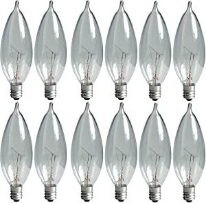 GE Lighting Crystal Clear 76239 60-Watt, 650-Lumen Bent Tip Light Bulb with Candelabra Base, 16-Pack
