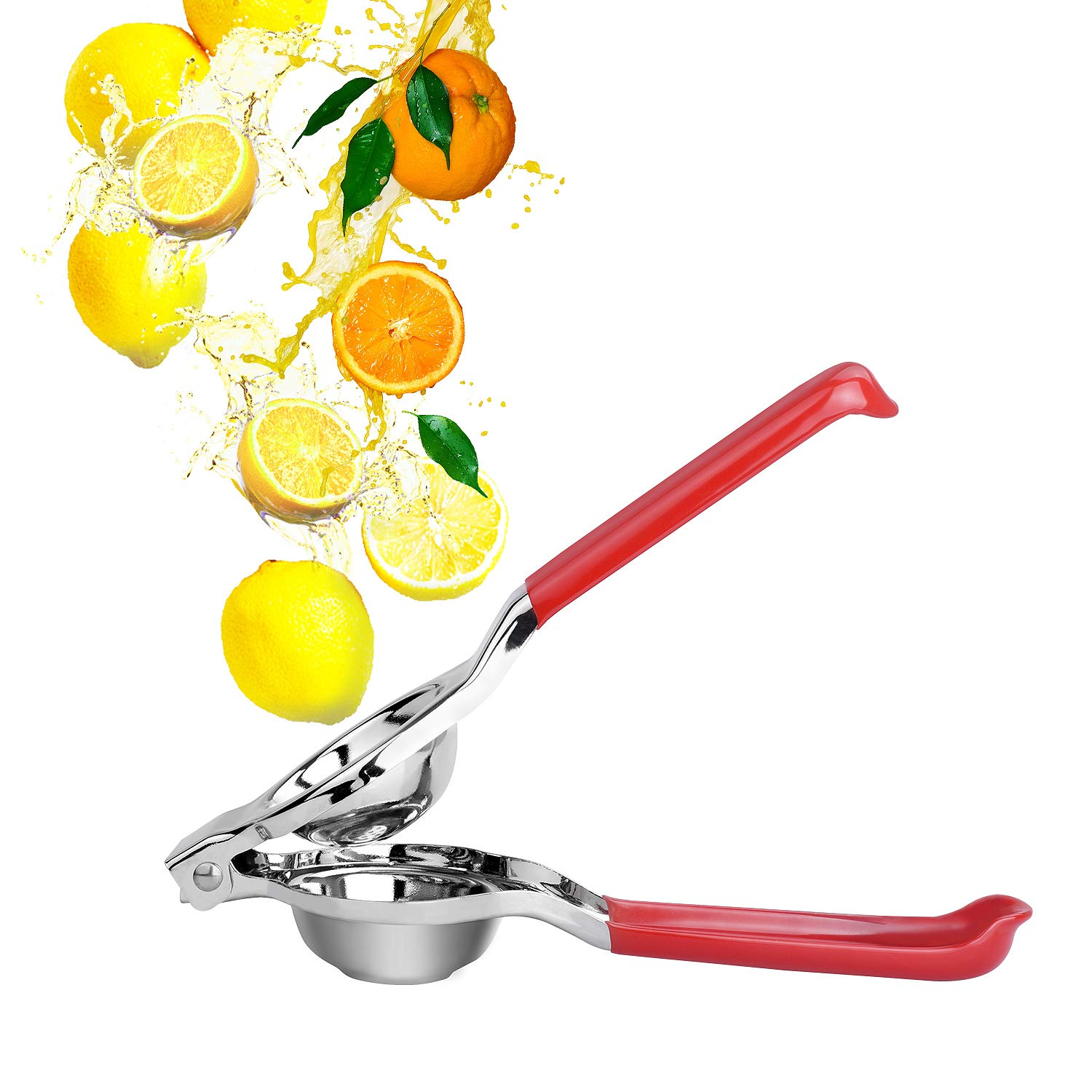 Lemon Lime Squeezer,Premium Stainless Steel Manual Citrus Press Juicer,Heavy Duty Lime Squeezer,Large Bowl Single Press Lemon Squeezer with 12 Holes for More Juice,PVC Handle Easy To Use