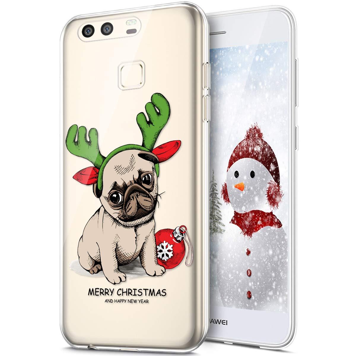 Rann.Bao Coque Compatible pour Huawei P9 Plus Coque Silicone TPU Transparente Housse Crystal Souple Gel Motif No/ël Ultra-Mince de Protection Couverture Etui Coquille Etui pour Huawei P9 Plus,#878