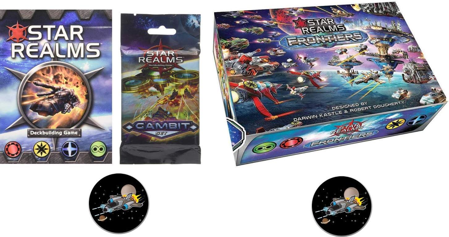 Juego de Base Star Realms, Frontiers, The Gambit Set y 2 Botones Star Fighter: Amazon.es: Juguetes y juegos