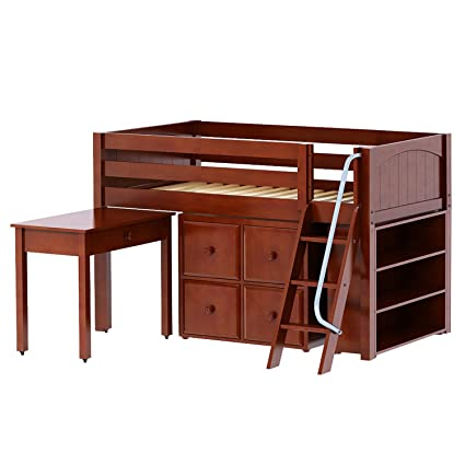 Amazon Com Maxtrix Solid Hardwood Twin Size Low Loft Bed With