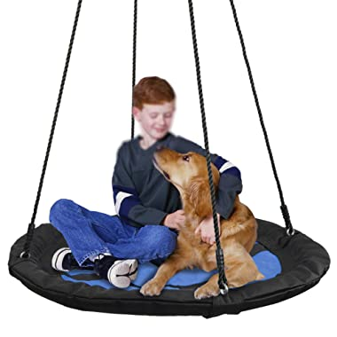 SUPER DEAL 40  Waterproof Saucer Tree Swing Set - 360 Rotate° - Attaches to Trees or Existing Swing Sets - Adjustable Hanging Ropes - for Kids, Adults and Teens, 3 Colors (Bright Blue)