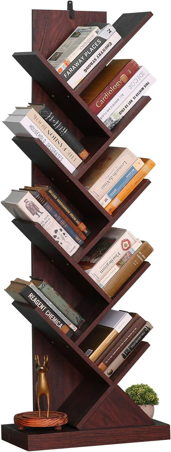 Tree Bookshelf, 9-Shelf Tree Bookcase Wood Bookshelves, Floor Standing Tree Bookcase in Living Room Home Office, Tree Shelf Display Organizer for Books/Magazines/CDs/Movies, Walnut Brown