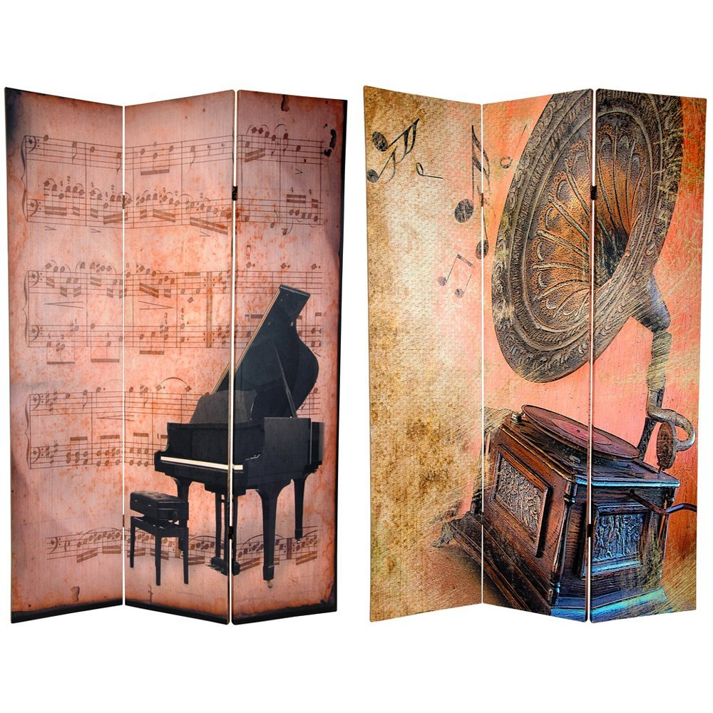 Oriental Furniture 6 ft. Tall Double Sided Music Room Divider - Piano/Phonograph