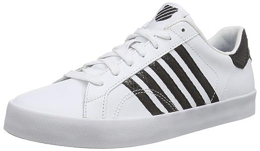 K-Swiss Women's Belmont SO Snake White/Black Leather Sneaker 8.5 B (M
