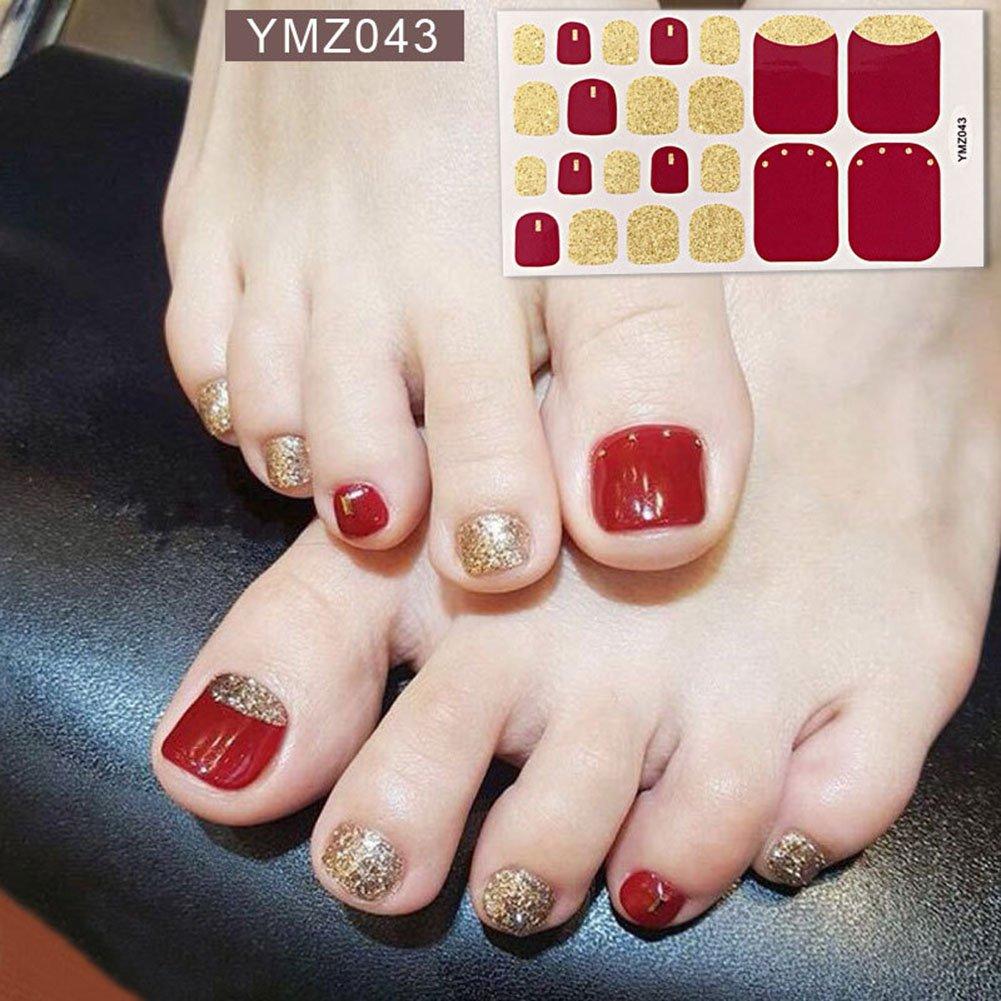 Wokoto 6 Sheets Nail Adhesive Polish Stickers For Toes And 1pc Nail