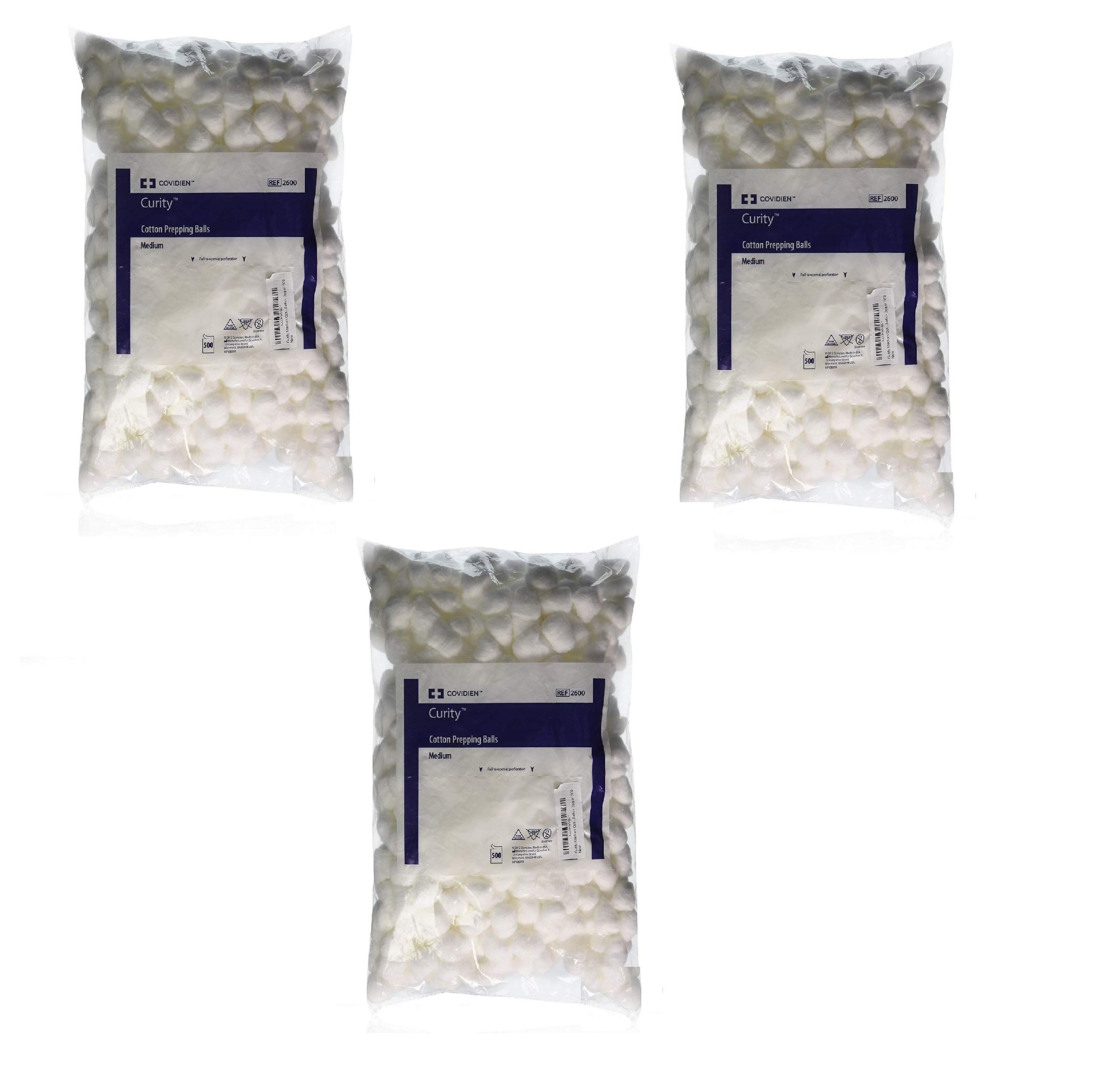 Kendall COTTON500DS Curity Medium Cotton Balls - Bag of 500 (3 Pack)