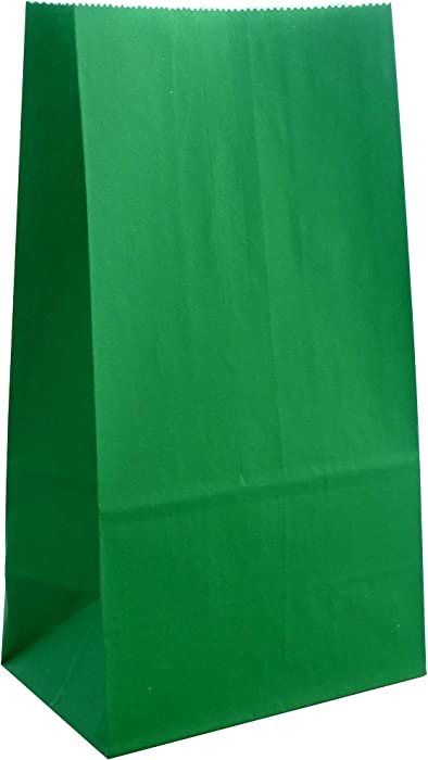 Party Favor Bag - 50 Pack Emerald Dark Green Food Grade Kraft Paper Lunch Bags for Birthday, St Patrick's Day and Christmas - 5