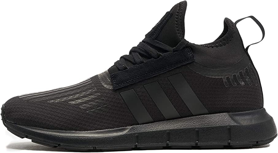 New Boys adidas Black Swift Run Textile Trainers Running Style Lace Up