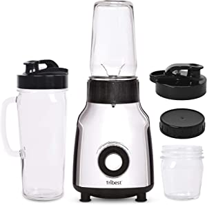 Tribest Glass Personal Portable Blender, Chrome, 5.6 lbs