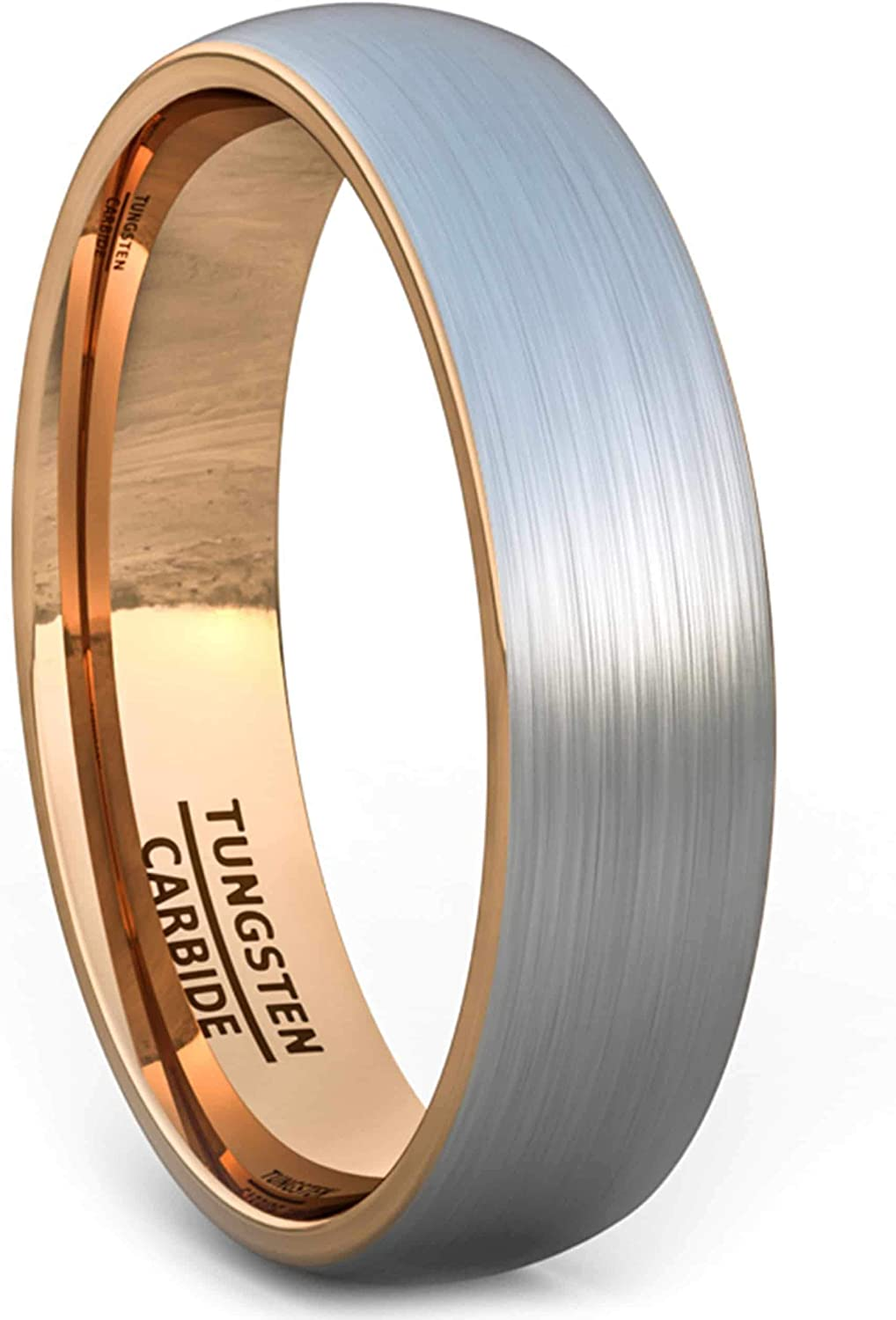 Tungsten Ring 6mm Brushed Silver with Yellow Gold Comfort fit band Mens Wedding Band Mens Ring