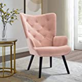 Dolonm Velvet Accent Chair Modern Tufted Button Wingback Vanity Chair with Arms Upholstered Tall Back Desk Chair with Solid W