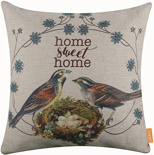 US Seller-birds houses sweet home vintage retro cotton linen cushion cover