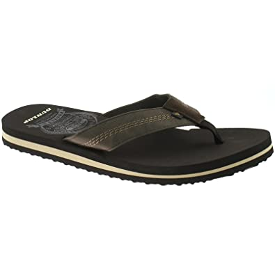 MENS DUNLOP TEXTILE FLIP FLOPS SANDALS SIZE UK 6 - 12 BEACH BLACK BROWN DMP566