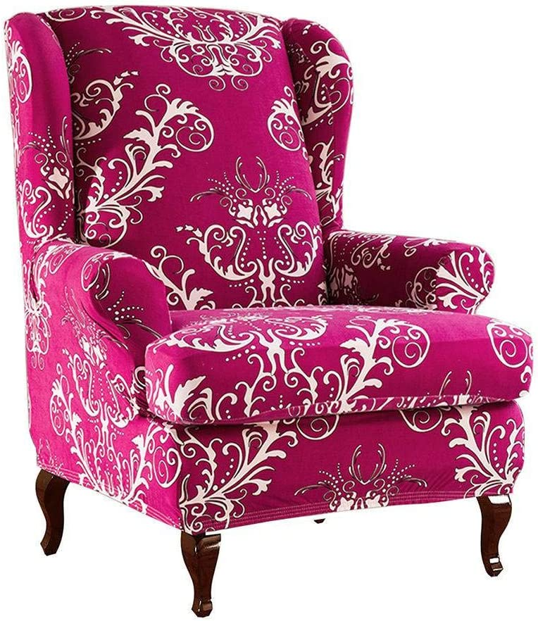 Modern Printed Pattern Armchair Covers Microfiber Fabric Living Room Sofa Slipcover Stretch-Blue-2 Piece Stretch Wing Chair Slipcovers 2 Piece
