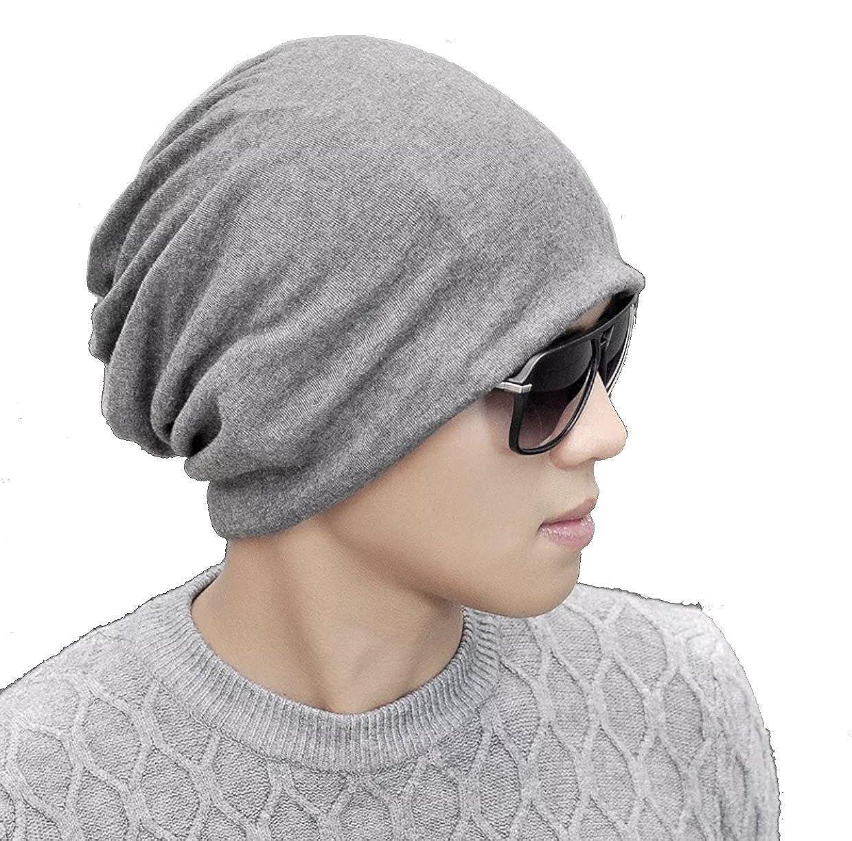 8a0ba93dc8a W Y YING Cotton Three-Ways Warm Soft Mens Womens Grey Slouchy Beanie Hats  (Dark Grey) at Amazon Women s Clothing store