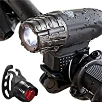 SLACTech Luces de Bicicleta, Delantera y Trasera Linterna Bicicleta Recargable, IPX5 Resistente con 4 Modes, Faro Delantero superbrillante y luz Trasera para Bicicletas, 300 Lumens