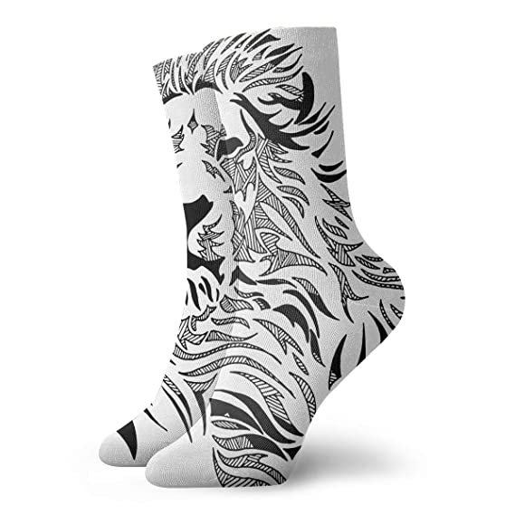 ba812ff4d35 Image Unavailable. Image not available for. Color  Black Lion Personalized  Socks ...